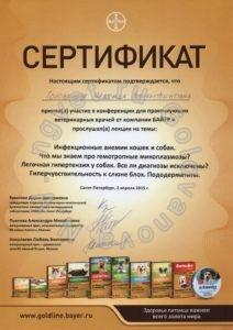 Сертификат ветеринарного врача Головановой Н.В. как участника тематической конференции для практикующих ветеринарных врачей от компании БАЙЕР. 2015