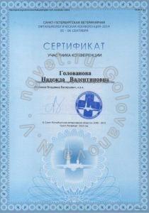 Сертификат ветеринарного врача Головановой Н.В. как участника Санкт-Петербургской ветеринарной офтальмологической конференции 2014